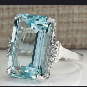 Luxury Brand Jewelry - Natural Aquamarine/White Sapphire Sterling Silver